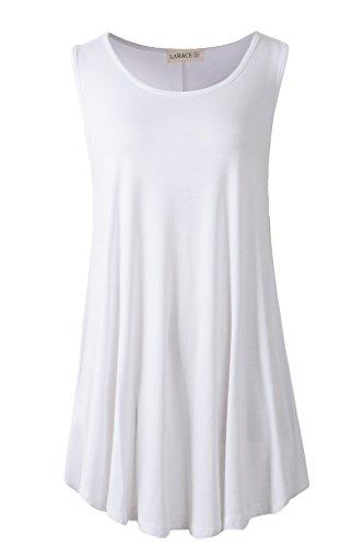 - LARACE Women Solid Sleeveless Tunic for Leggings Swing Flare Tank Tops (M, White)