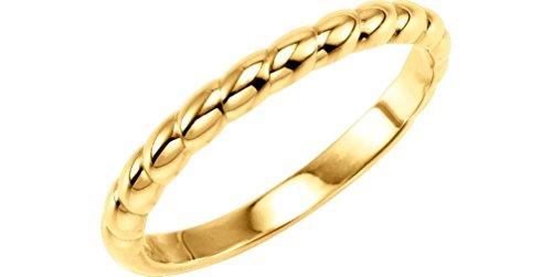 Rope Trimmed Stackable 2.5mm 14k Yellow Gold Ring, Size 4.25 by The Men's Jewelry Store (for HER)