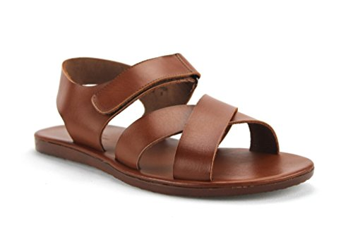 Scandro Men's 52632 Roman Gladiator Leather Strap Sandals Shoes, Cognac, -