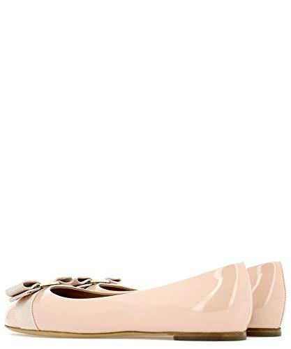 Salvatore Cuir Ballerines 643083 Ferragamo Vernis Rose Femme rqxwrHOC7