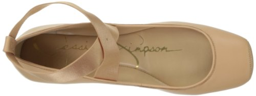 Jessica Simpson Mandalaye Piel Zapatos Planos Natural Sleek Leather