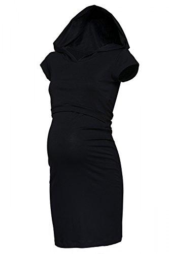 Happy Mama. Para Mujer Vestido en Capas Premamá de Lactancia Capucha. 352p Negro