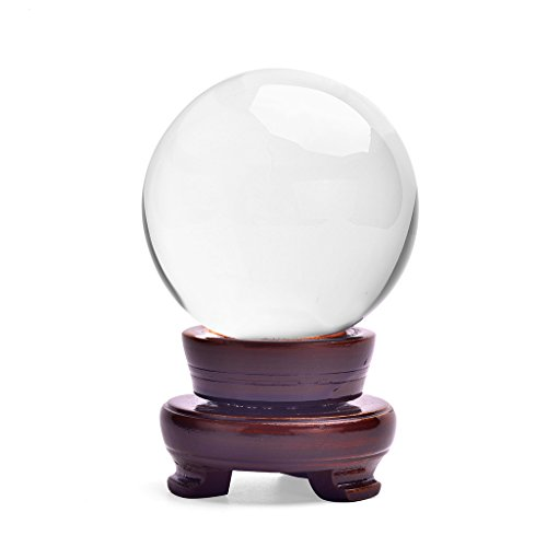 HanLingGG Clear Crystal Ball 3.15inch Glass Sphere Display Photography Decor Ball with Wooden Stand for Home Wedding Office Decoration