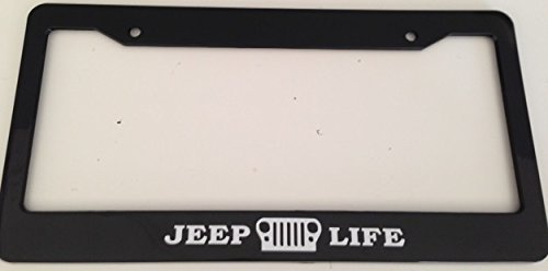 Jeep Life with Grill - Automotive Black License Plate Frame - Off Road Wrangler