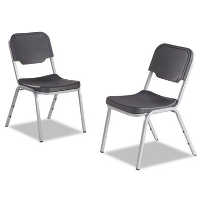 Iceberg Rough N Ready Series Original Stackable Chair, Charcoal/Silver, 4/Carton