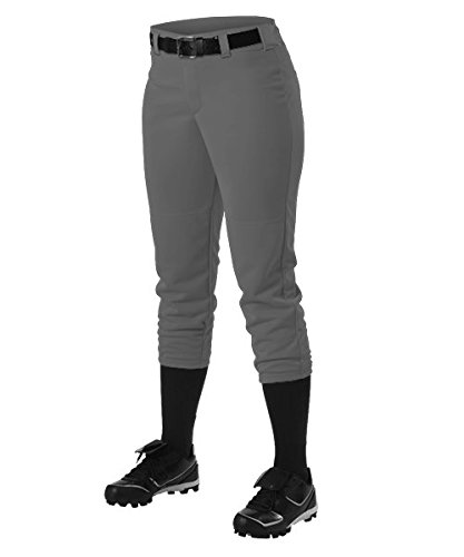 Alleson Ahtletic Girls Fast pitch Softball Belt Loop Pants, Charcoal, X-Large