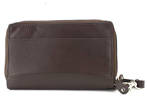 BACCI Men's Top Grain Cowhide Leather Double Zipper Clutch Wallet Arjile