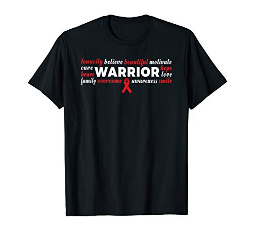 - Stroke Warrior T Shirt Red Ribbon Fighter Love Heart