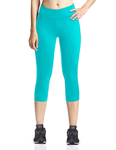 Baleaf Women's Yoga Capri Pants Workout Running Legging with Inner Pocket Non See Through Sea Green Size S