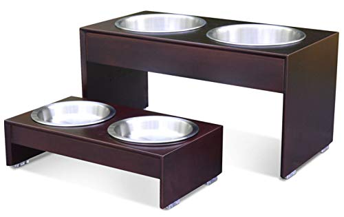 "PetFusion Elevated Dog Bowls, Cat Bowls -- Bamboo Feeder W/ Water Resistant Seal (Short 4""). Us Food Grade Stainless Steel Raised Bowls"