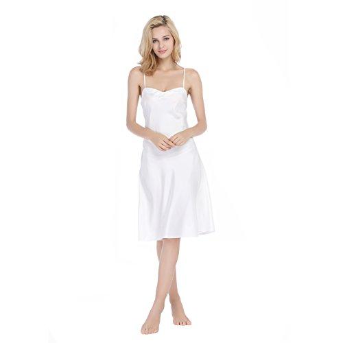 Xindi Women Silk Sleepwear Lightweight nightgown with Gift Box (L)