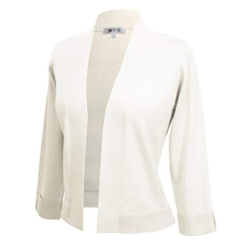 (Women's 3/4 Sleeve Open Front Sweater Cardigan Cropped Bolero Style MK3558-IVR-XL)