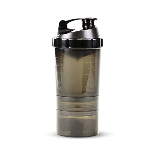 Protein / Vitamin - Shaker Mixing Bottle w/two dry Storage Compartments & Organizer - 17oz. Capacity - Graphite
