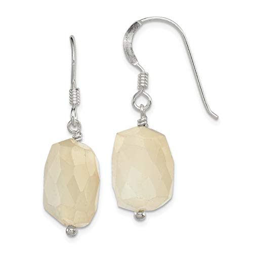 Sterling Silver Simulated Moonstone Earrings (Approximate Measurements 31mm x 10mm)