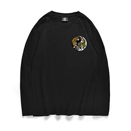T Couleur Homme Longues Chemisier Manches shirt Shirt Timemeans Unie Hommes Noir4 Tee gHnA1AW6