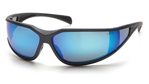 Pyramex Safety Exeter SCG5165DT Charcoal Gray Frame/Ice Blue Mirror Anti-Fog Lens (Safety Pyramex Glasses Exeter)