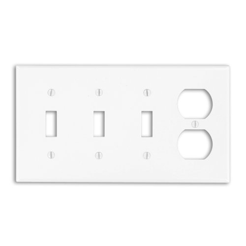 Leviton P38-W 4-Gang 3-Toggle 1-Duplex Device Combination Wallplate, Standard Size, White