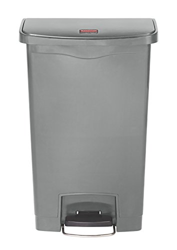 Rubbermaid Commercial Products Slim Jim Step-On Plastic Trash/Garbage Cans, 13 Gallon, Plastic Front Step Step-On, Gray