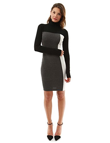 PattyBoutik Women's Turtleneck Pencil Sweater Dress (Black, Gray and Ivory M)