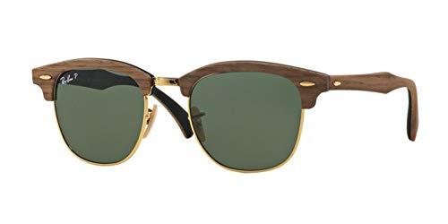 Ray-Ban RB3016M Clubmaster Wood Square Sunglasses, Walnut Black Rubber/Polarized Green, 51 mm (Rabatt Ray Bans)