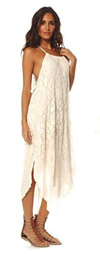 Elan International Halter Lace Dress Tan Large
