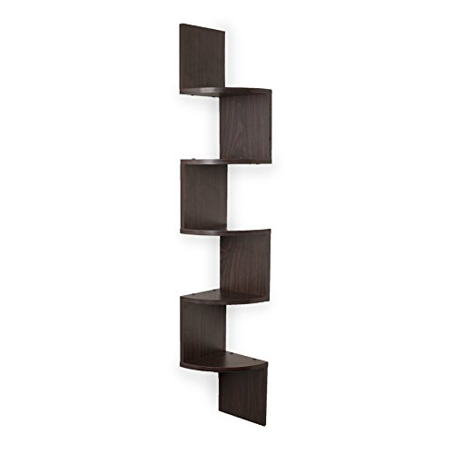 Danya B. XF11035 Large Rustic Decorative 5-Tier Corner Floating Wall Mount Display Shelving Unit - Walnut