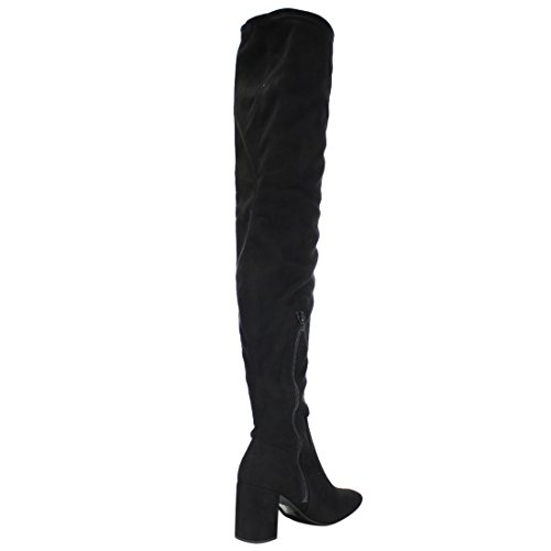 98 Over Suede Limit Women's High Black Chunky Faux Knee Boot Dress Heel Speed the gAxXqn5w5p
