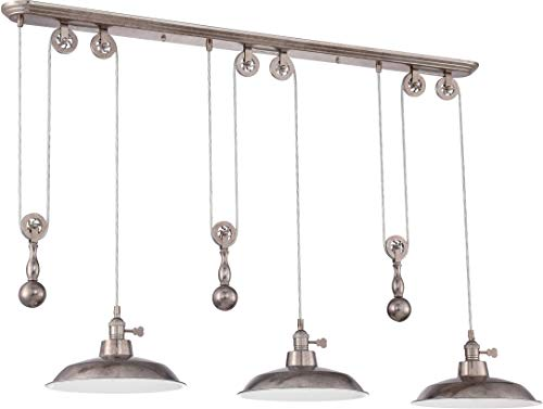 Craftmade P403-TS Pendant Metal Dome Adjustable Pully Pendant Lighting, 3-Light, 300 Watts, Tarnished Silver (12