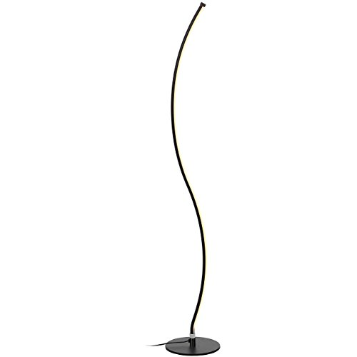 Brightech Wave LED Floor Lamp – Dimmable Urban Contemporary Modern Light Fixture- Tall Standing Floor Lamp with Decorative Design- for Living Room, Den, Family Room, Office, Bedroom, Dorm - Jet Blac