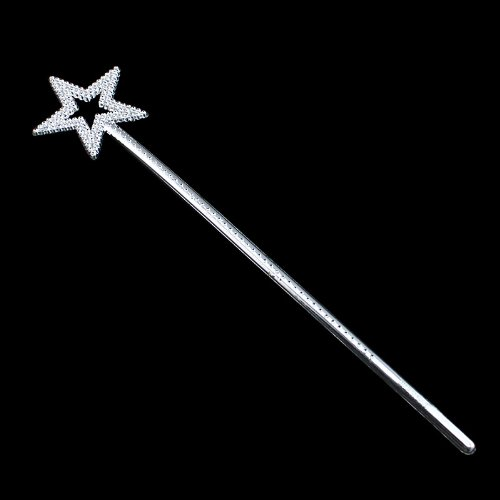 [Silver Fairy Princess Angel Wand Fancy Dress Costume Accessory // Princesa de hadas ángel varita de plata vestido de lujo accesorio del] (Angel Fancy Dress)