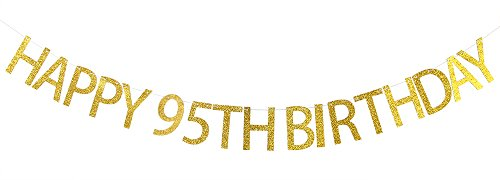 Happy 95th Birthday Banner Gold Glitter Party Bunting