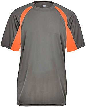 Men's two-tone moisture-wicking cool and dry sport hook tee. (Graphite / Safety Orange) (Large) -