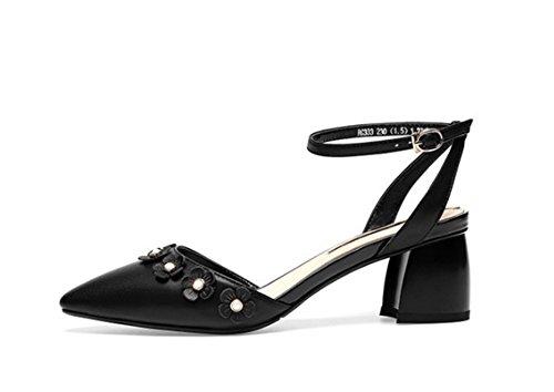 en Cuir LBDX Taille en Printemps Couleur Cuir Talon 35 Noir Bouche mi Chaussures véritable Shallow Beige C445wx