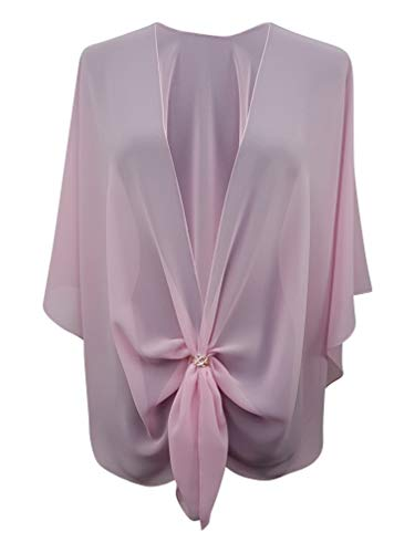 (eXcaped Women's Evening Shawl Wrap Sheer Chiffon Open Front Cape and Rose Gold Scarf Ring (Pink))