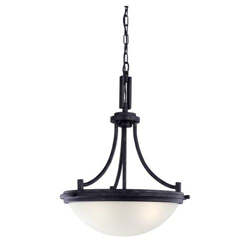 Sea Gull Lighting 65661-839 Winnetka - Three Light Pendant, Blacksmith Finish with Satin Etched Glass -