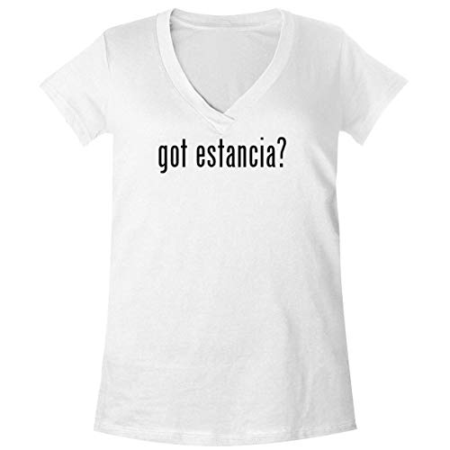 The Town Butler got Estancia? - A Soft & Comfortable Women's V-Neck T-Shirt, White, XX-Large