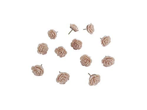 Decorative Rose Thumbtacks for Cork Boards, Unique Handmade Flower Push Pins are Ideal for Pinning Polaroid Photos, Bridal, Baby Showers Decors. Adorning Offices and Weddings - Set of 12. (Lavender)