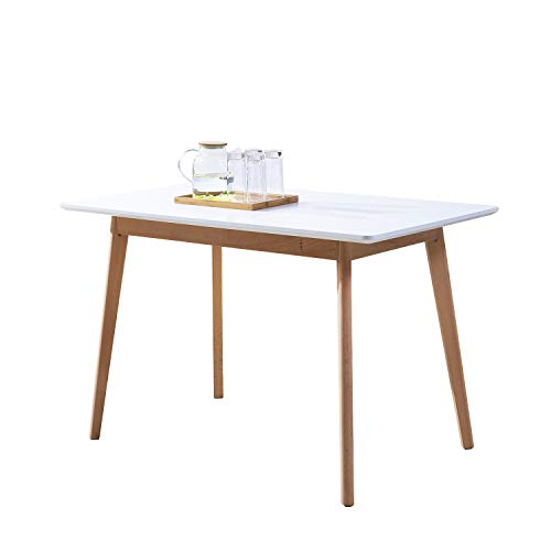GreenForest Dining Table Rectangular Top with Solid Wood Legs for Kitchen Dining Room 47.2