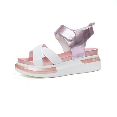 delle donne YCMDM sandali estivi slingback Creepers Luce Suole PU Abito informale all'aperto Tallone piano Magic Tape Walking , purple , us6.5-7 / eu37 / uk4.5-5 / cn37