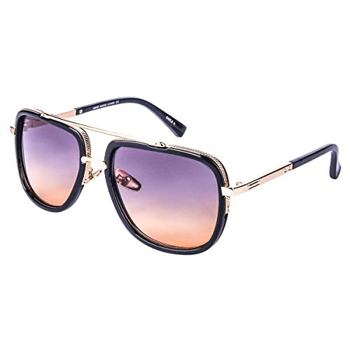 Price comparison product image Oversized Square Sunglasses for Men Women Pilot Shades Gold Frame Retro Brand Designer