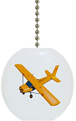 Yellow Airplane Plane Solid Ceramic Fan Pull