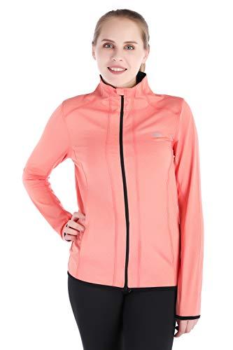 (Dolcevida Women's Full Zip Long Sleeves Running Activewear Yoga Track Jackets (Coral, XL) )