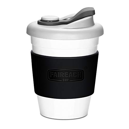 Taza de Cafe para llevar con Tapa, Mug Cafe Reutilizable con Manga Antideslizante, Vasos de Cafe Ecologica de Viaje con sin BPA, Coffee To Go apto para Lavavajillas y Microondas, 340ml (12 oz)