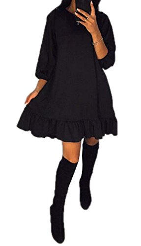 Bowant Woman Solid Round Collar 3/4 Puff Sleeve Ruffled Casual Dress for Teen Girls (Black, S)