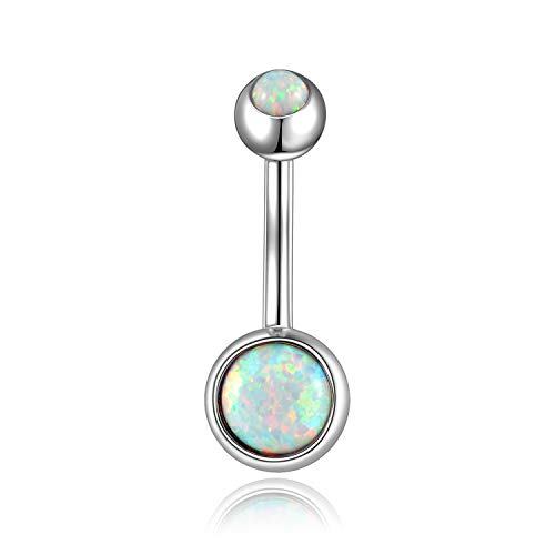 (14G Opal Belly Button Rings Curved Surgical Steel Belly Piercings Navel Ring Navel Barbell for Women Girls(Choose Color))