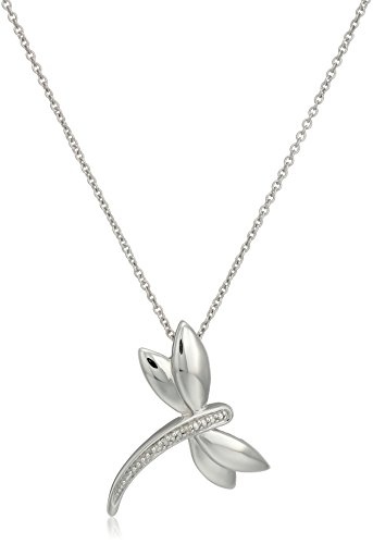 Sterling Silver Diamond Accent Dragonfly Pendant Necklace, 18