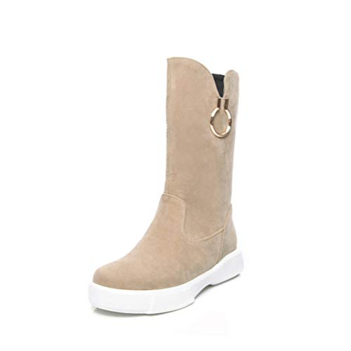 T-JULY Winter Women Comfortable Shoes Round Toe Flat with Mid Calf Boots Flock Slip-On Basic Ladies Warm Snow Ankle Boots ()