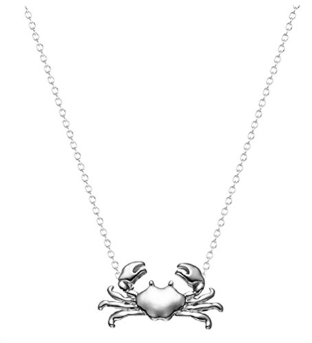Crab Claw Clasp - Boston Emporium Crab Pendant Necklace Ocean Jewelry 18K White Gold Plated Women Girl Teen Nautical 18in Chain (White Gold)