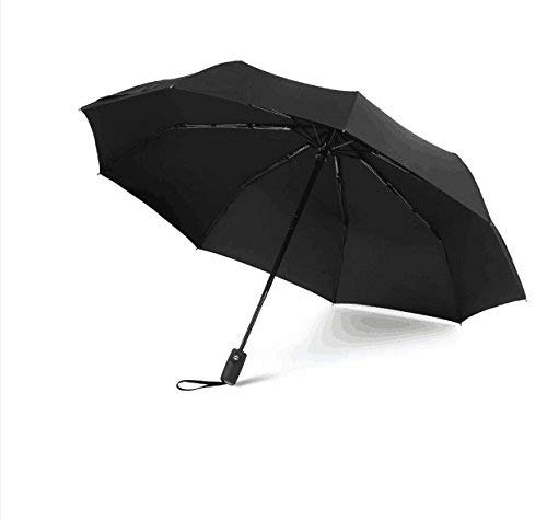 Automatic Travel Umbrella Esonmus Compact Umbrella Foldable 9 Nerve Resistant to Windproof Ultra Violet Lightning Protection with Teflon Coating 210T-Black -