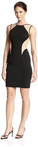 Terani Couture Women's Illusion Sheath Dress, Black Nude, 6 US